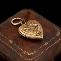 Antique Vintage Art Deco 12k Gold Filled GF Sweetheart Charm Locket Pendant 3.3g