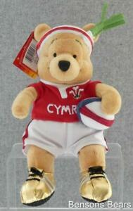 Disney Store Cymru Rugby Player Winnie The Pooh Gold Boots St Davids Day Beanie