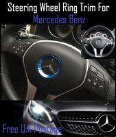 For Mercedes Benz Blue Aluminum Steering Wheel Trim Ring 51mm