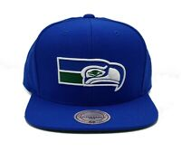 Seattle Seahawks Mitchell & Ness Throwback Sold Wool Blue Snapback Hat Cap NFL