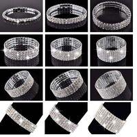 Elegant Damen Silber Bling Strass Dehnung Kristall Armband Armreif Cuff Schmuck