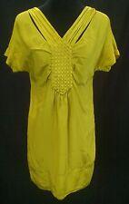 Women's Banana Republic Chartreuse Silk Basket Weave Short T-Shirt Dress - Sz S
