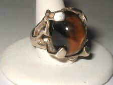 Heavy 16.3 grm Tiger Eye Sterling Silver Ring Mid century Brutalist FREE SIZING!