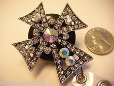 CROSS Badge Holder Retractable Reel Black/Silver Aurora Rhinestones -34""