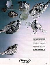 PUBLICITE ADVERTISING 054  1986  CHRISTOFLE  orfèvre LES OISEAUX