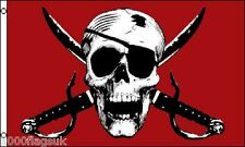 Pirate Jolly Roger Skull and Crossed Swords Crimson 5'x3' Flag !