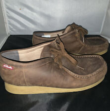 Mens Brown Leather Clarks Shoes Boots Size 10 Rubber Bottom Walking Comfort