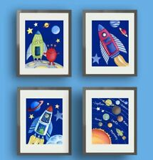 Space Planets Aliens Rockets Moon Stars Kids Children Boys Nursery Art Prints