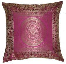 "16"" Mandala Silk Cushion Cover Indian Brocade Zari Embroidery Throw Pillow Decor"