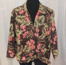 Floral Hawaiian shirt 2X 3/4 sleeve tie front Jones New York brown pink tropical