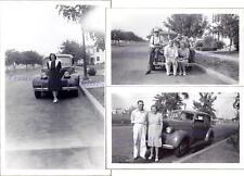Men Women 1939 Chevrolet Chevy Two-Door Master Deluxe Sedan Calif License Photos