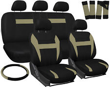 Car Seat Covers Tan Black 17pc Set for Auto w/Steering Wheel/Belt Pad/Head Rests