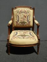 Vintage Carved French Country Floral Needlepoint Tapestry Tan Accent Chair