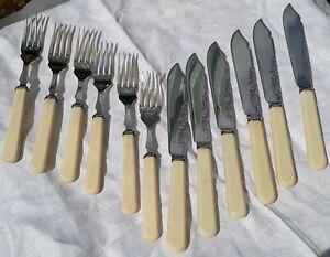 Antique Victorian Silver Plate Fish Cutlery Set Birmingham Maker