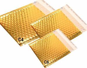 Bolsos de Burbuja Oro Metálico,Cartera,Sobres,Acolchado Breve