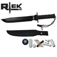 "SUR 6080-145BK 16"" RTEK Black Survival Knife with Compass Camping Outdoors Gear"
