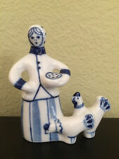 Blue and White Peasant Women Figurine Hand Made in Russia Porcelain