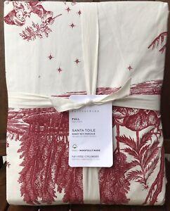 Pottery Barn Santa Toile Organic Cotton Sheet Set, Size Full, New W/$99.00