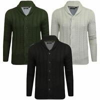 New Shawl Cable Knit Brave Soul Mens Button Up Cardigan Weave Warm Chunky S-XXL