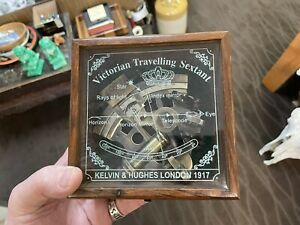 Collectible Antique Nautical Brass Working German Marine Sextant w/ Wooden Box