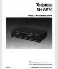 Technics SH-GE70 Stereo Graphic Equalizer Operating Instruction EQ USER MANUAL