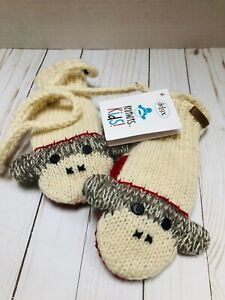 Knitwits Kids Wool Sock Monkey Mittens Mitts with String Water Resistant