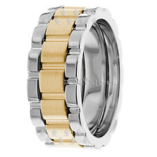 MENS WEDDING BANDS TWO TONE 14K GOLD WATCH INSPIRED 8MM MENS WEDDING BAND RINGS