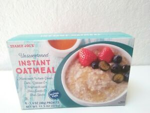 2 PACK Trader Joe's Unsweetened Instant Oatmeal Gluten Free (8 packets ea box)