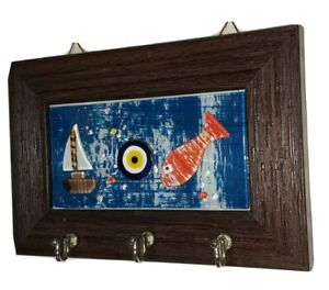 Wall hanging key holder wood&glass with evil eye