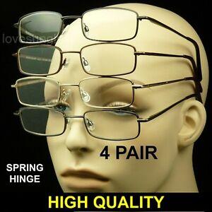 Reading glasses men women spring hinge 4 pair temple lens pack lot metal power