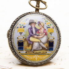 Fusee Antique Pocket Watch Piquant Enamel Miniature Painted Verge