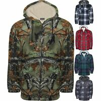 Mens Fleece Lined Hoodie Camouflage Sherpa Jungle Print Hunting Hooded Jacket