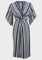 Ladies Multi Stripe V Neck Midi Dress UK 16 BNWOT Ex Peacocks