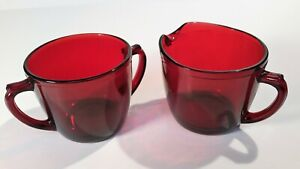 Vintage Ruby Cranberry Red Glass Sugar And Creamer Set