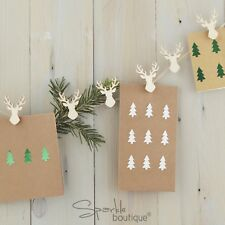 WOODEN STAG CHRISTMAS CARD HOLDER SET -Pegs/Twine Xmas Decoration- RANGE IN SHOP
