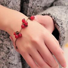 Cute Women Girls Vintage Retro Red Cherry Leaf Chain Bracelet Bangle Gift New