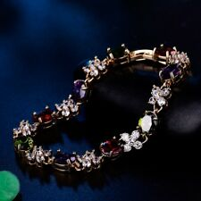 "Stylish Charm Colorful Rhinestone Beads Crystal Lovely Lady Chain Bracelet 7.5"""