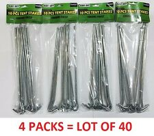 "LOT OF 40 Heavy Duty Chrome Tent Nails 9"" Ground Stakes Camping Outdoors Hooks"