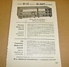Drake 2-C HF Receiver and 2-NT CW Xmtr Print AD Advertisement Original Vintage
