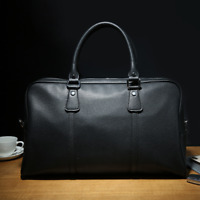 Business Mens Black Briefcase Soft Leather Duffle Handbag Laptop Travel Bag