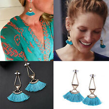 European Fashion Women Lady Charm Blue Thread Tassel Fringe Stud Earrings Gift