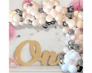 Balloon Arch Garland Kit - 124 Pieces - White, Silver & Silver Confetti Balloons