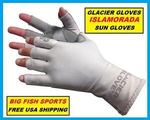 GLACIER ISLAMORADA FINGERLESS FISHING SUN GLOVES Size EXTRA LARGE #079GY +50UPF