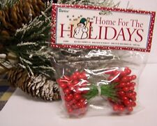 """1 Pack of 72 Double Ended Red Holly Berries 3/8"""" On Wire Stem Christmas Craft"""