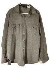 Excellent Woolrich Vintage Wool Jacket Thick Shirt Striped Gray Mens XLarge XL