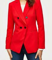 NWT Ann Taylor Loft Red Twill Double Breasted Blazer Jacket Size 6 Black