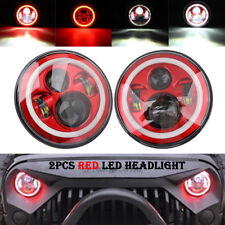 2x 7'' LED Hi-Lo Beam Headlight Round Halo Angle Eyes Red Red For Wrangler JEEP