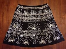 TALBOTS PETITES *SIZE 12P* BLACK A-LINE SKIRT WITH WHITE STITCHING / EMBROIDERY