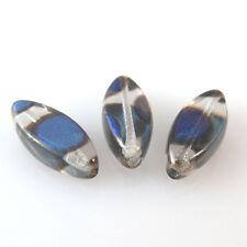 10 PRECIOSA Boehmisches Flachoval Tschechische Glasperlen 20X8mm Blau R137