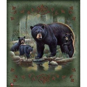 JQ Licensed  Luxury Plush Super Soft Queen Size Blanket--Black Bear Family